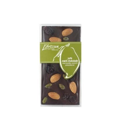 70% mørk chokolade med mandler, rosiner og pistaciekerner